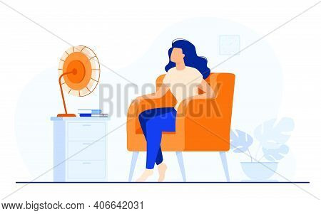 Woman Conditioning Air At Home, Feeling Hot, Trying To Cool And Sitting Gat Fan. Vector Illustration