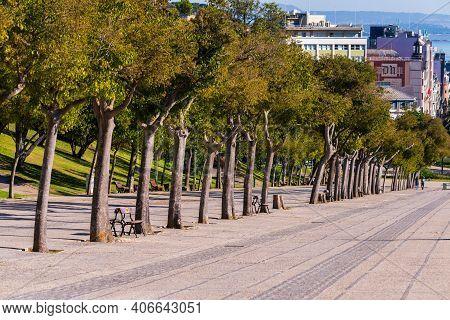 Portugal, Lisbon, October 09, 2018: Walkway With Trees At Eduardo Vii Park Near The Carnation Revolu