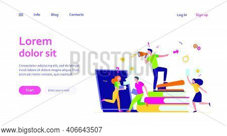 Office Chaos Vector Illustration. Angry Boss Shouting At Megaphone, Busy Employees Running In Hurry