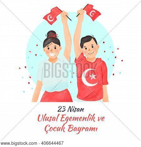 23 Nisan Ulusal Egemenlik Ve Cocuk Bayrami. April 23 National Sovereignty And Children's Day. Eps10
