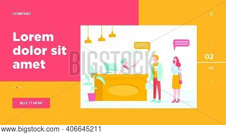 Receptionist Job Vector Illustration. Customers Consulting Manager At Reception. Tourists Checking I