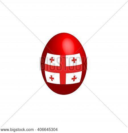 Easter Egg In The Colors Of The Georgian Flag. Flag Of Georgia. Easter Chicken Egg. Christian Religi