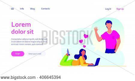 Romantic Woman Chatting With Boyfriend Via Laptop. Computer, Boyfriend, Couple Flat Vector Illustrat