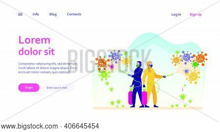 Sanitary Workers In Protective Suits Spreading Chemicals On Virus And Disinfecting Surface. Vector I