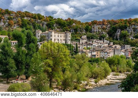 Medieval Village Of Vogue In Ardeche, Rhone-alpes, Southern France