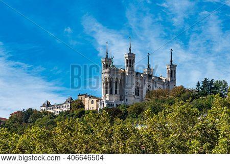 The Basilica Of Notre-dame Of Fourviere, La Basilique Notre Dame De Fourviere In Lyon, France, Europ