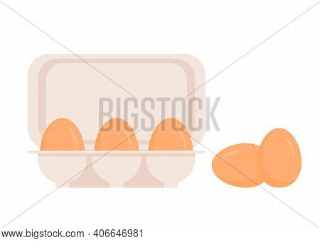 Chicken Eggs In Pack. Fresh Brown Eggs In Paper Box, Container. Whole Egg In Eggshell. Vector