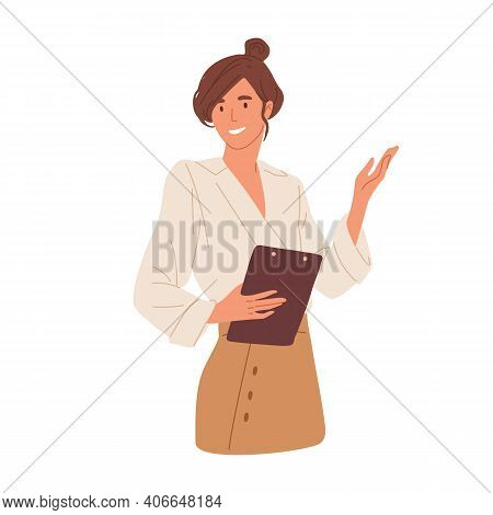 Happy Young Woman Pointing And Showing Smth With Hand. Smiling Secretary Or Businesswoman Explaining