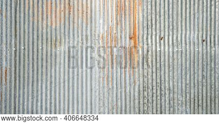 Old Galvanized Sheet Wall With Rust Background