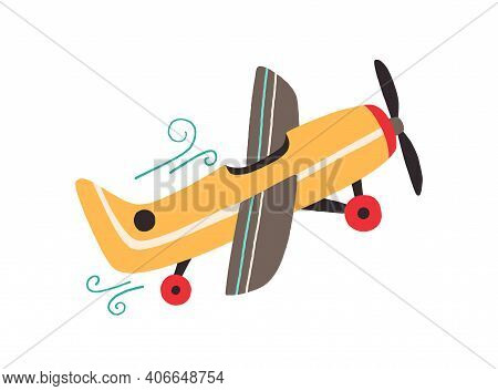 Toy Plane With Propeller Isolated On White Background. Side View Of Flying Old Airplane. Hand-drawn
