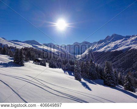 Freshly Snow-covered Winter Landscape In The Swiss Mountains. Davos Klosters