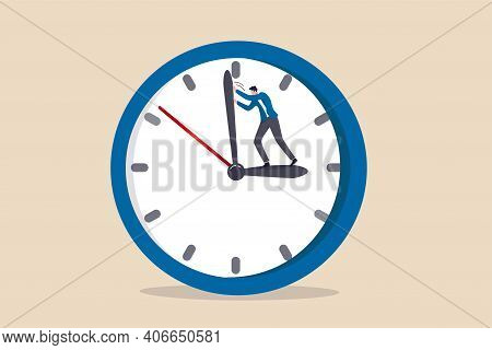 Turn Back Time To Change Or Fix Mistake, Inevitable Failure Or Urgency Closed To Deadline Concept, B