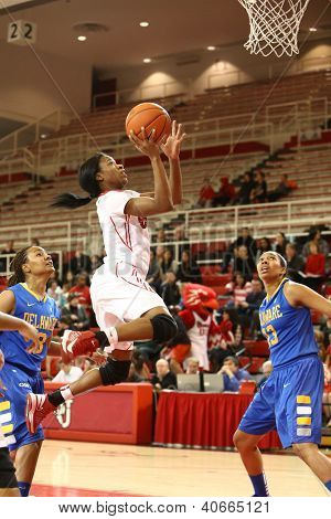 JAMAICA, NY-JAN 2: St. John's Red Storm guard Aliyyah Handford (3) goes up for a shot against the Delaware Blue Hens during the game at Carnesecca Arena on January 2, 2013 in Jamaica, New York.