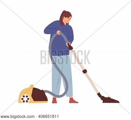 Young Woman Cleaning Home With Manual Vacuum Cleaner. Smiling Homemaker Running Vac During Cleanup.