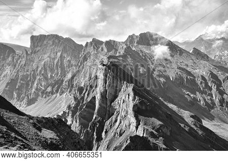 Breathtaking View Of The Mountain Peaks, Dramatic North Face For Climbing, Mountains In Europe