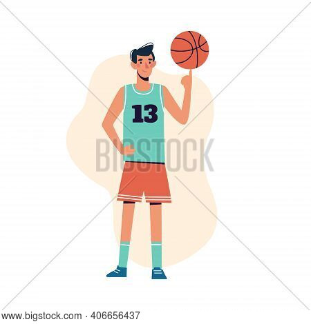 A Man Spins A Basketball On His Finger. Flat Design Concept With An Athlete Playing Basketball. Bask