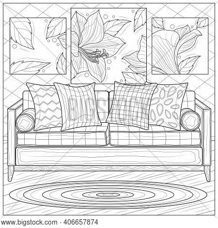 Interior. Room With Sofa And Paintings.coloring Book Antistress For Children And Adults. Illustratio