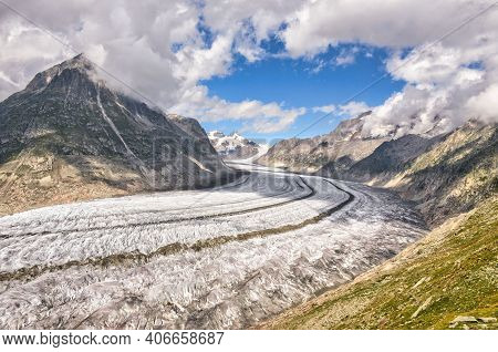 Aletsch Glacier. Valais Switzerland. Panoramic View Of The Jungfrau. Fantastic View And Panorama. Al