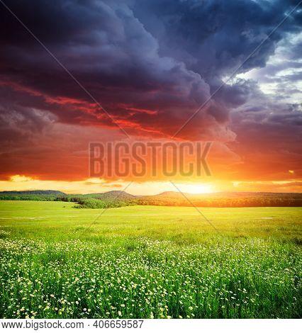 Spring Sunrise Field Landscape. Nature Sun Landscape Sunset Nature Background. Nature Background Nat