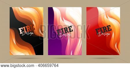 Set Of Posters With Fire Abstract Graphic Forms, Fire Protection Promo Or Hot Party Invitation