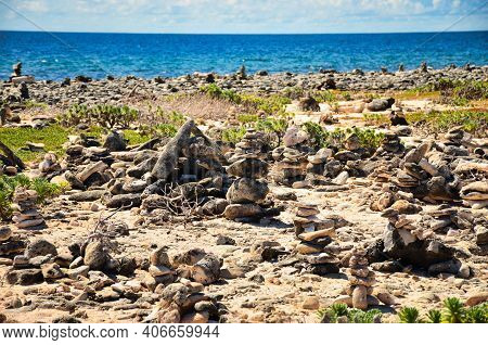 Cairn At The Sea Of Caribbean, Island Of Bonaire, Antilles Abc Island Netherlands, Stone By The Sea,
