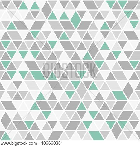 Geometric Vector Pattern With Gray And Green Triangles. Geometric Modern Ornament. Seamless Abstract