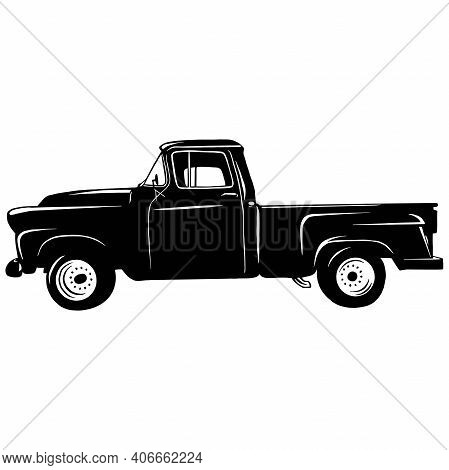 Pickup 1949, Muscle Car, Classic Car, Stencil, Silhouette, Vector Clip Art - Truck 4x4 Off Road - Of
