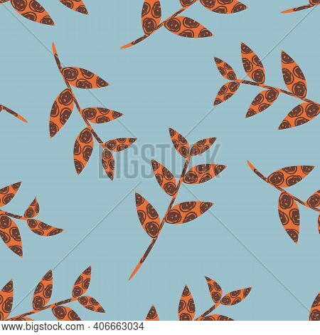 Abstract Stems Of Scribble Textured Vector Leaves. Botanical Seamless Pattern Background. Red Simple