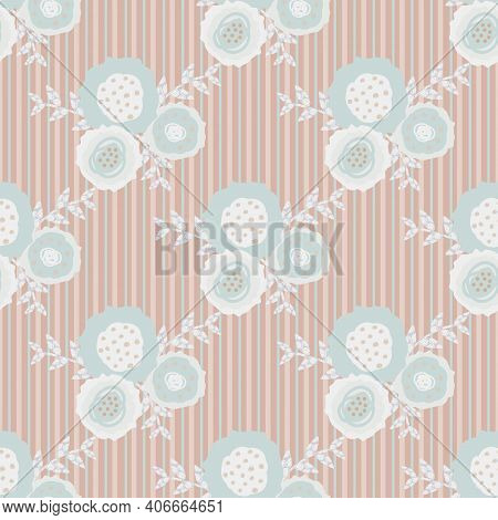 Set Of Vector Flowers And Leaves Seamless Pattern Pastel Pink Background. Trios Of Hand Drawn Scribb