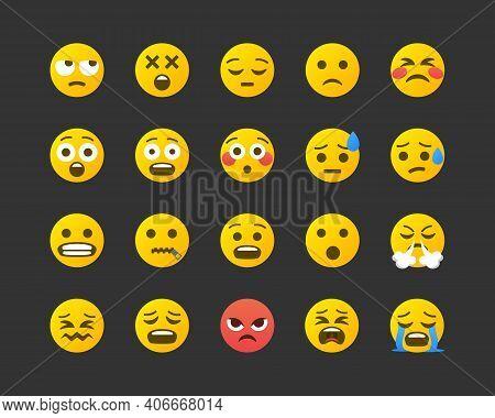Set Of Emoticons. Set Of Negative Emoji. Smile Icons Isolated On White Background. Vector Illustrati