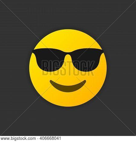 Emoji Sunglasses Smile. Like A Boss Emoticon Symbol Isolated On White Background. Vector Illustratio