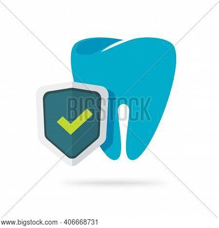 Dental Health Protection Icon Vector Flat Cartoon Illustration, Tooth Defense Guard Via Shield Symbo