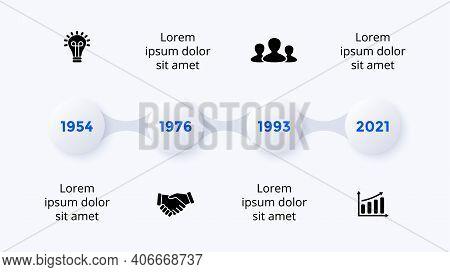 Timeline Neumorphic Vector Infographic Timeline. 4 Steps. Presentation Slide Template. Clean Minimal
