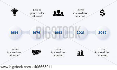 Timeline Neumorphic Vector Infographic Timeline. 5 Steps. Presentation Slide Template. Clean Minimal
