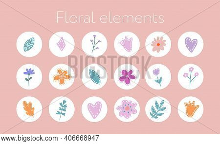 Instagram Story Highlight Icon. Set Of Hand Drawn Design Element With Flower And Leaf. Hand Boho Flo