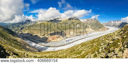 Largest And Longest Glacier In Euopra, Valais Switzerland. Panoramic View Of The Jungfrau. Aletsch A