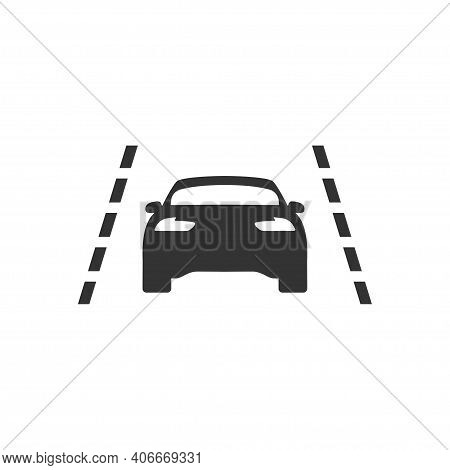 Keeping In Lane Icon In Simple Design. Vector Illustration