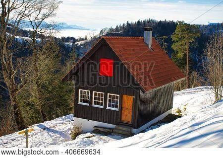 Hut In A Winter Landscape, View Of A Mountain Hut In Winter, Photo Of Zurich Oberland Switzerland, H