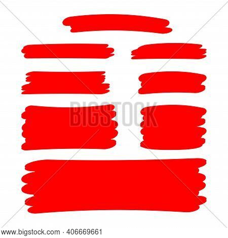 Red Stripes Brush Paint For Scribble Marker, Brushstroke Painting Red Color, Red Watercolor Brush Ar