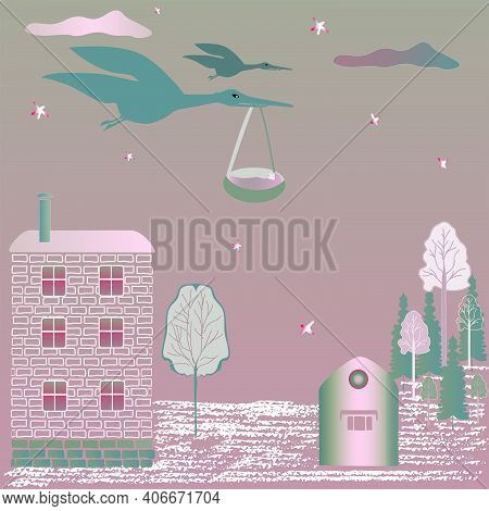 Stork With A Baby In The Evening Sky Against A Background Of Red And Green Shades.  Vector.