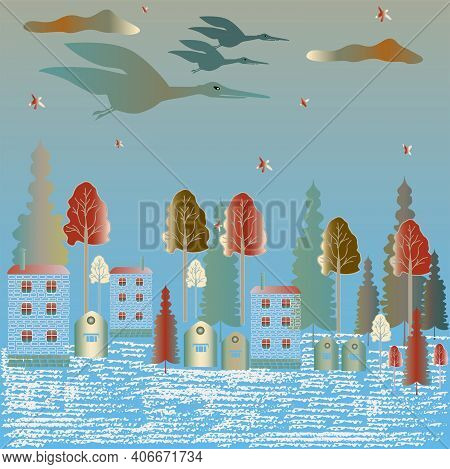 Storks With A Baby In The Evening Sky Against A Background Of Blue And Green Shades.  Vector.