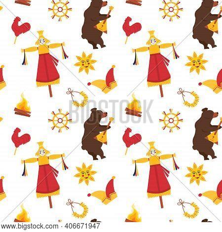 Seamless Pattern For Maslenitsa Pancake Festival. A Bear Playing On Balalaika. Scarecrow With Straw