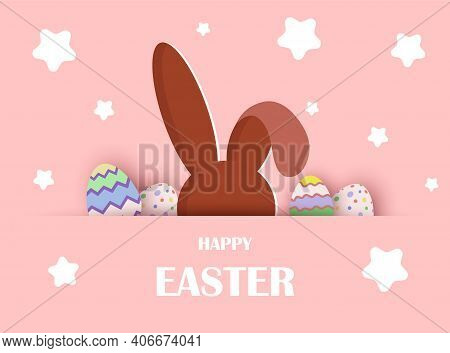 Easter background. Easter bunny looks out with eggs.Happy Easter, easter bunny, easter background, easter banners, easter flyer, easter design,easter