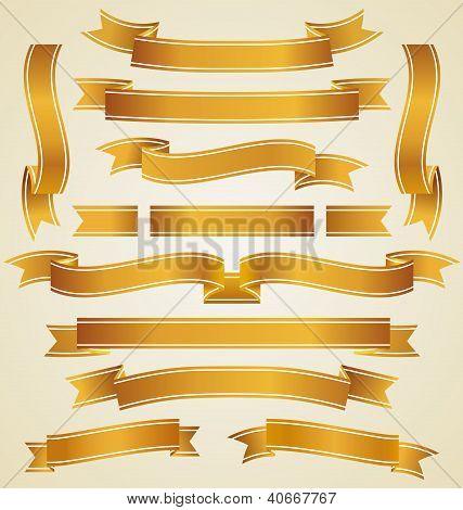 Set Of Golden Ribbons