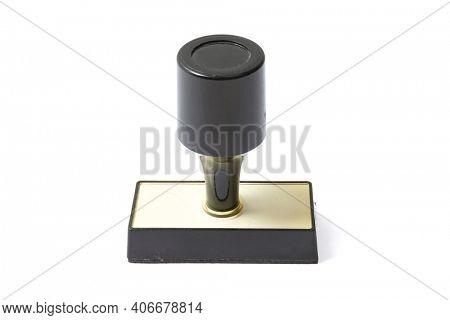 Black stamper on white background