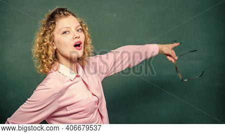 Learning Progress. Woman School Teacher Chalkboard Background. School Staff Concept. Developing Cogn