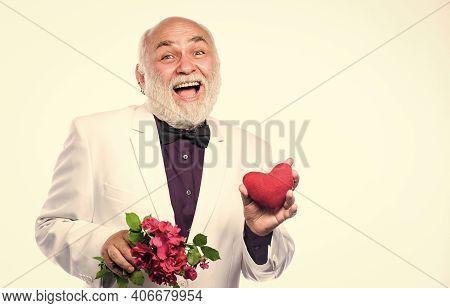 Love And Romance. Bearded Businessman. Heart Failure. Health Care Treatment. Problems With Heart. Ha
