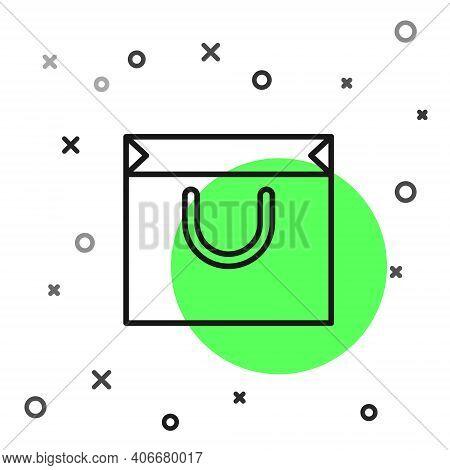 Black Line Shopping Bag Icon Isolated On White Background. Shopping Bag Shop Love Like Heart Icon. V
