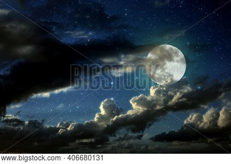 Dark Space Moon Concept. Mysterious Dark Night Sky With Full Moon And Cloud.romantic Moonlight Of Fu
