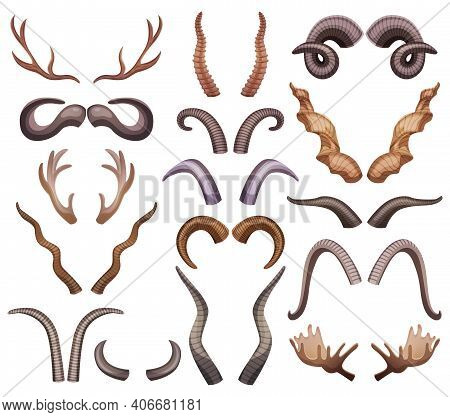 Horns Set With Isolated Colourful Horning Paired Images Of Different Shape And Colour On Blank Backg